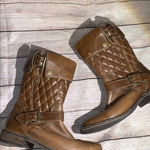 UGG Conor Quilted Brown Leather Mid Calf Boots 7.5